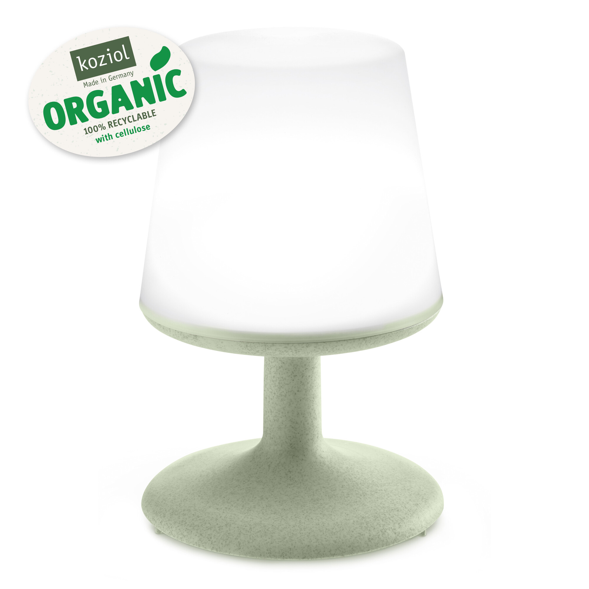 Koziol Light to Go Organic green oplaadbare lamp met powerbank