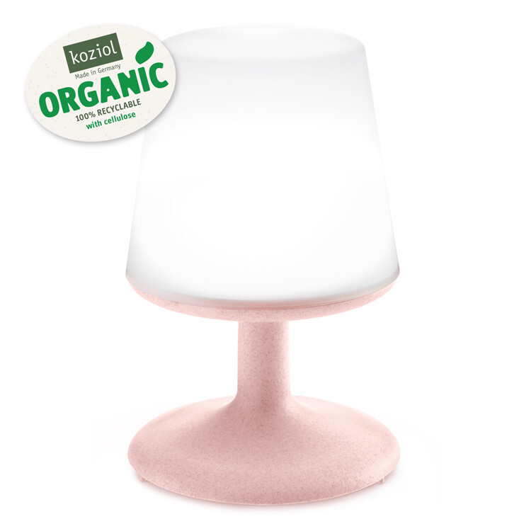 Koziol Light to Go Organic Pink oplaadbare lamp met powerbank
