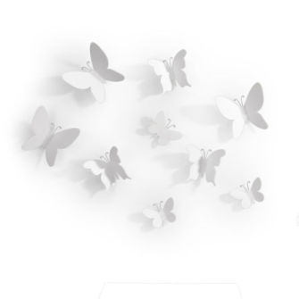 Umbra Mariposa Muurdecoratie Set van 9 Wit