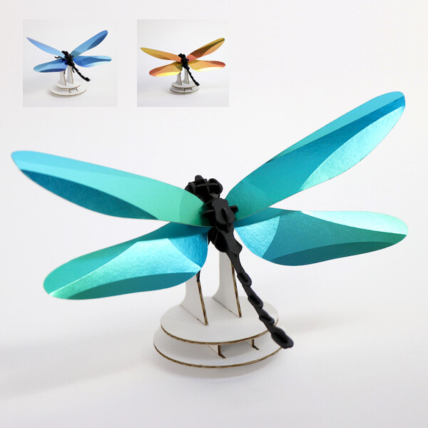 Assembli Anisoptera Dragonfly 3D insect glossy sunset yellow