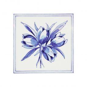 Royal Delft tegel tulp blauw