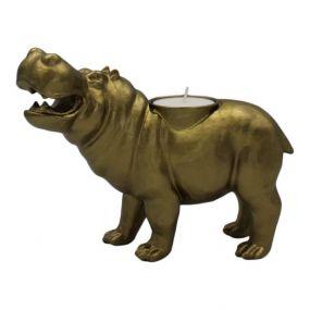 Housevitamin waxinelichthouder Hippo goud