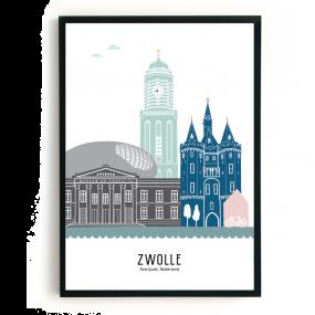Mevrouw Emmer poster Skyline Zwolle kleur