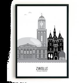 Mevrouw Emmer poster Skyline Zwolle zwart wit