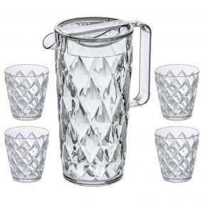 Koziol Crystal karaf 1,6 L met 4 glazen