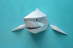 Assembli DIY dierenhoofd papieren Haai grijs