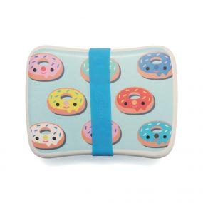 Petit Monkey bamboe lunchbox Donuts blauw