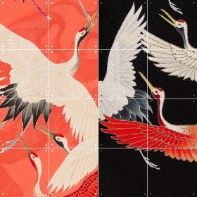Ixxi Kimono with cranes dubbelzijdige wanddecoratie