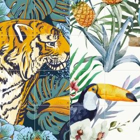 Ixxi dubbelzijdige wanddecoratie Tiger Jungle & Toucan Family