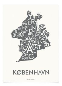 Kortkartellet Kopenhagen poster 50 x 70 cm