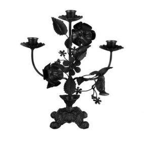 pt kandelaar Flowers zwart