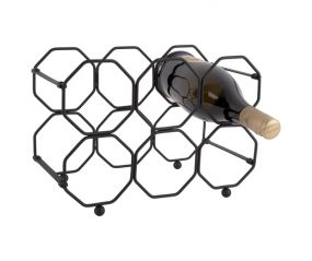 pt Wijnrek Honeycomb zwart 6 flessen