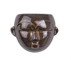 pt wandbloempot Mask rond donker bruin