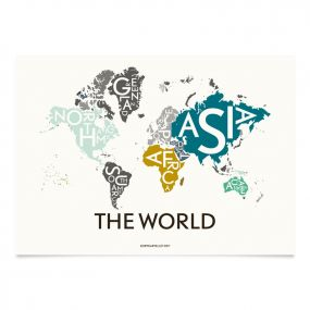 Kortkartellet illustratie Wereld 50 x 70 cm special edition