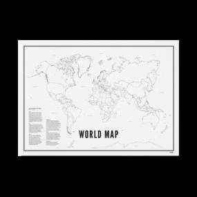 Wijck print Wereldkaart A4 21 x 30 cm
