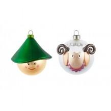 Alessi kerstballen set Le Palle Presepe herder en schaap