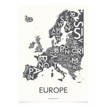 Kortkartellet Europa poster 50 x 70 cm grijs