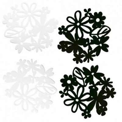Koziol Alice onderzetters set 4 stuks zwart/wit