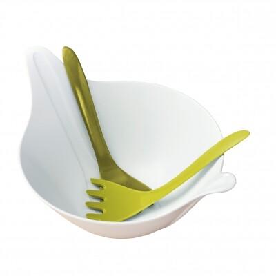 Koziol Leaf 2.0 saladeschaal met saladebestek wit groen