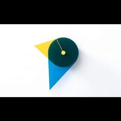 Birdie wandklok geel/blauw Joris Sparenberg