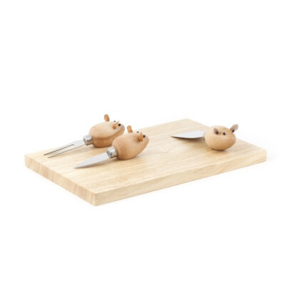 Kikkerland Kaasplank met muis messen