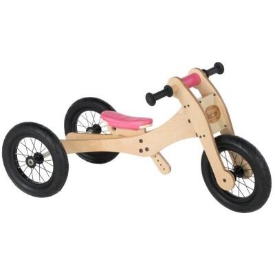 Trybike hout 3 in 1 loopfiets roze