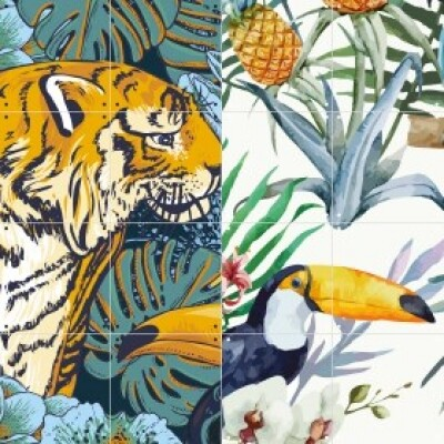 Ixxi dubbelzijdige wanddecoratie Tiger Jungle & Toucan Family