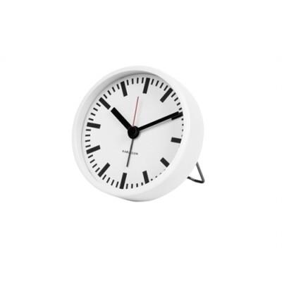 Karlsson Classic alarm klok staal wit