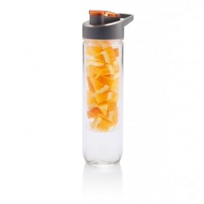 Loooqs waterfles met infuser 800 ml oranje