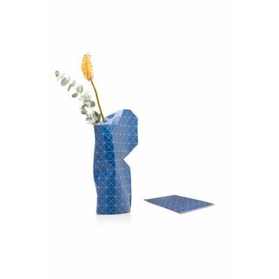 Paper Vase cover Blue grid