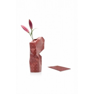Paper Vase cover Red grid