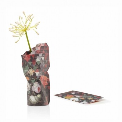Paper Vase cover small still life with fowers