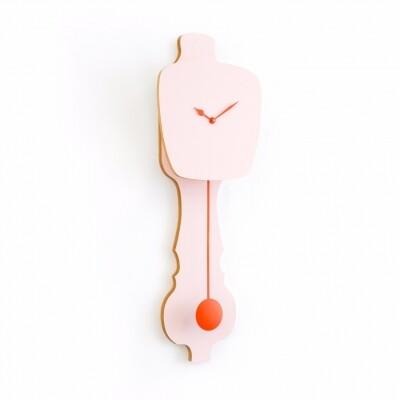 Kloq wandklok Peach Pastel met Neon Orange wijzers large