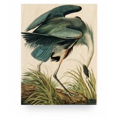 KEK Amsterdam Print op hout Reiger / Heron in grass small