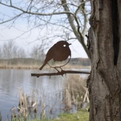 Metalbird vogelsilhouet Roodborst