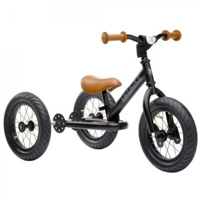 Trybike Steel 2-in-1 loopfiets zwart met bruine accessoires