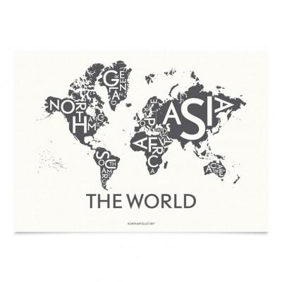 Kortkartellet Wereld poster 50 x 70 cm grijs