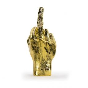 Bitten The finger beeld goud