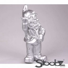 Stoobz F*ck You Tuinkabouter zilver 32 cm