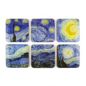 Onderzetters set van 6 Vincent van Gogh Starry night