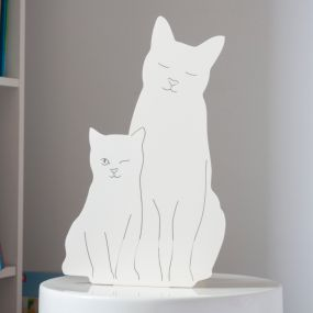 Goodnight Light Decoupage Lamp Kitties - Ivory
