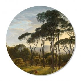 GM Decoratie muurcirkel Italiaans landschap met parasoldennen