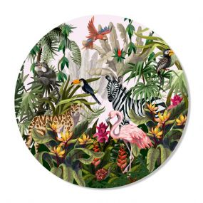 GM Decoratie muurcirkel Jungle Roze