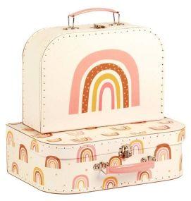 A Little Lovely Company Kofferset Regenbogen vooraanzicht