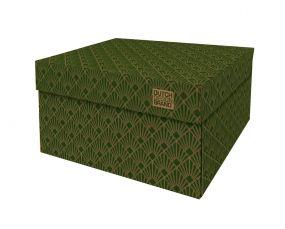 Dutch Design Storage Box Art Deco Velvet Green