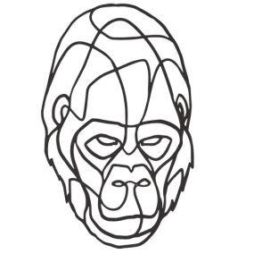 Wild Shapes wanddecoratie Gorilla zwart mdf 70 cm