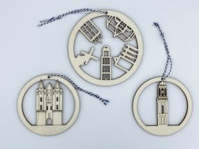 City Shapes houten kerstballen set Zwolle